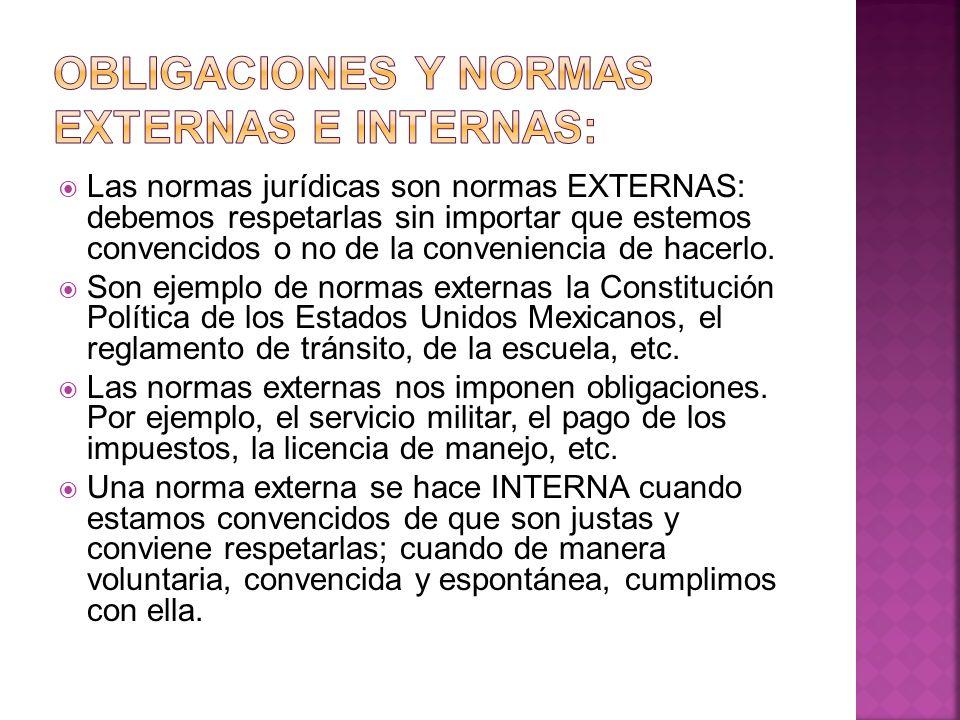 Obligaciones y normas externas e internas:
