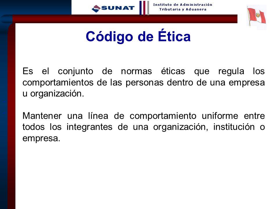 Código de Ética Es el conjunto de normas éticas que regula los comportamientos de las personas dentro de una empresa u organización.