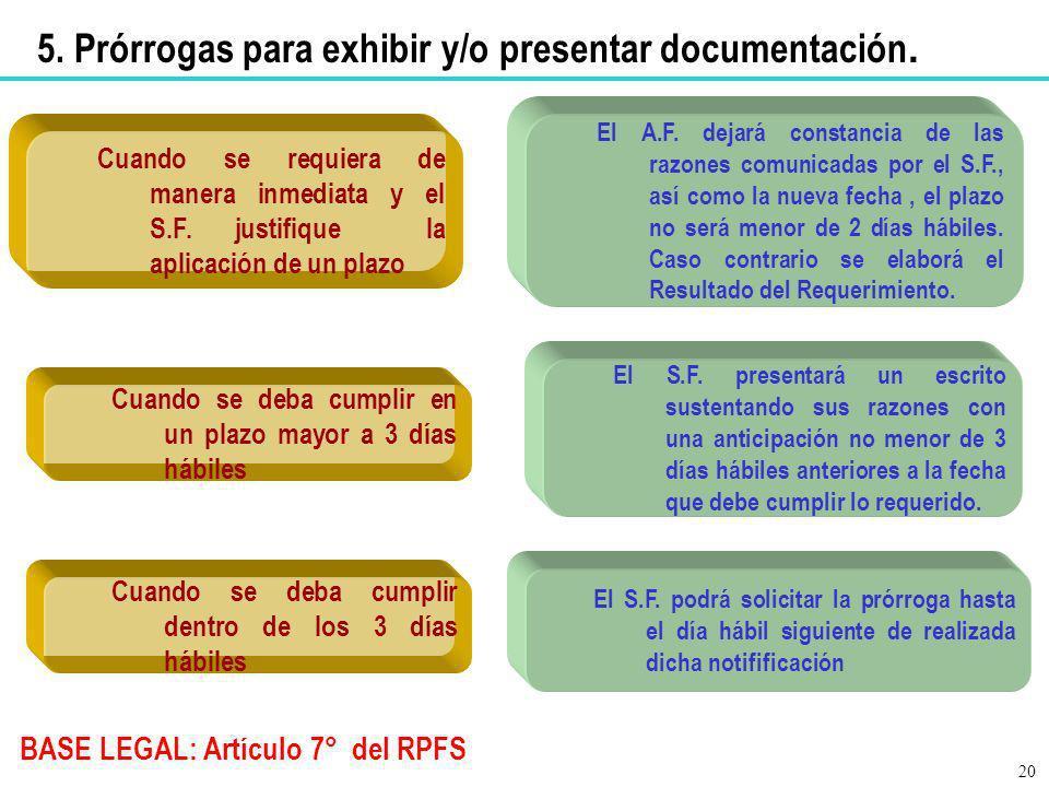 5. Prórrogas para exhibir y/o presentar documentación.