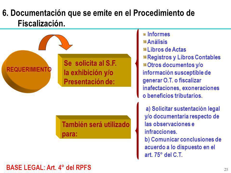 6. Documentación que se emite en el Procedimiento de Fiscalización.