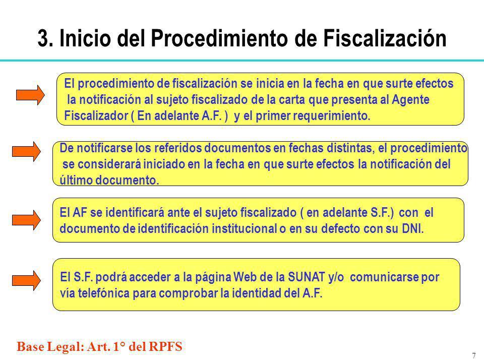 3. Inicio del Procedimiento de Fiscalización