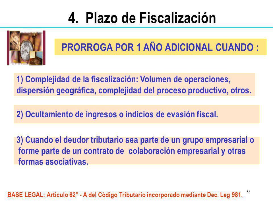 4. Plazo de Fiscalización PRORROGA POR 1 AÑO ADICIONAL CUANDO :