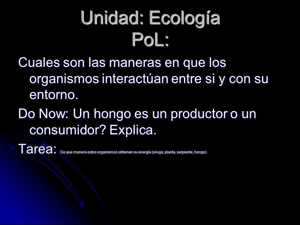 Unidad: Ecología PoL:Cuales son las maneras en que los organismos interactúan entre si y con su entorno.