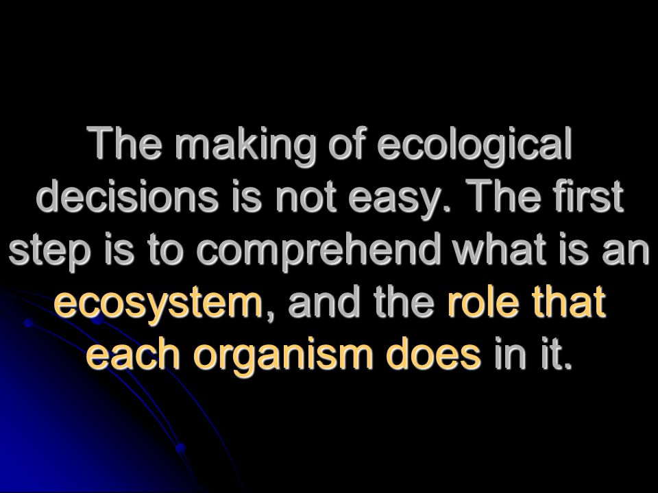 The making of ecological decisions is not easy