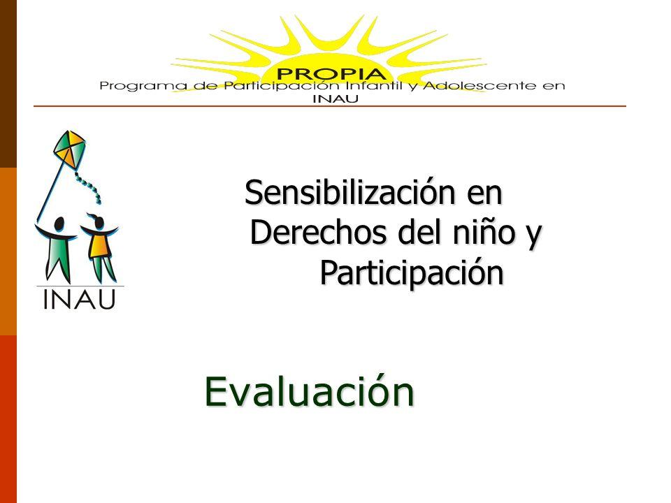 Sensibilización en Derechos del niño y Participación Evaluación