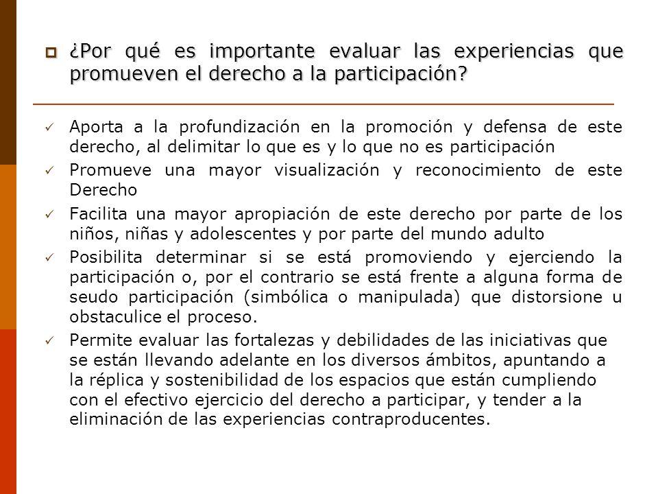 ¿Por qué es importante evaluar las experiencias que promueven el derecho a la participación
