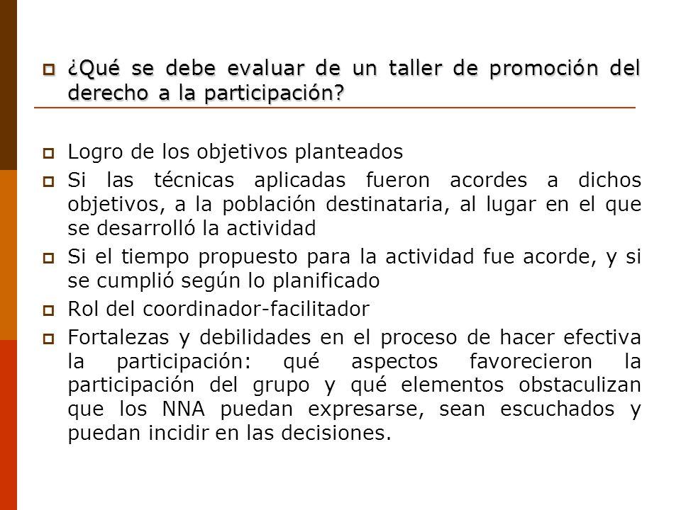 ¿Qué se debe evaluar de un taller de promoción del derecho a la participación