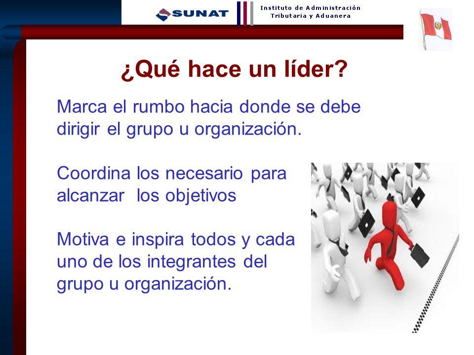 ¿Qué hace un líder Marca el rumbo hacia donde se debe dirigir el grupo u organización. Coordina los necesario para.