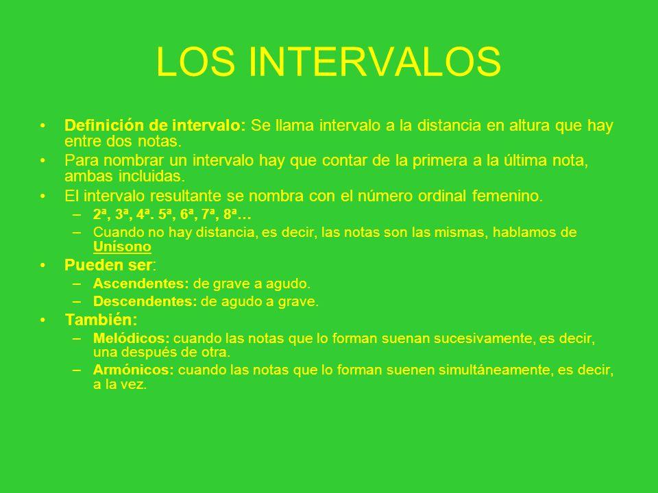 LOS INTERVALOS Definición de intervalo: Se llama intervalo a la distancia en altura que hay entre dos notas.