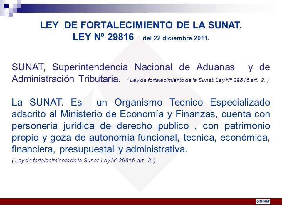 LEY DE FORTALECIMIENTO DE LA SUNAT.