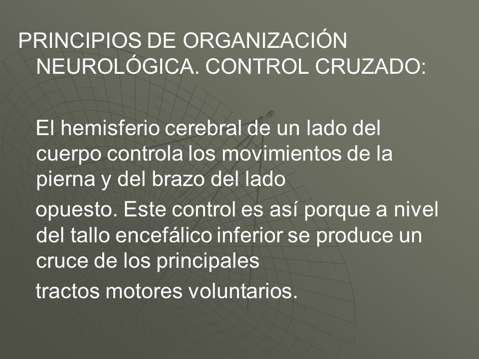 PRINCIPIOS DE ORGANIZACIÓN NEUROLÓGICA. CONTROL CRUZADO:
