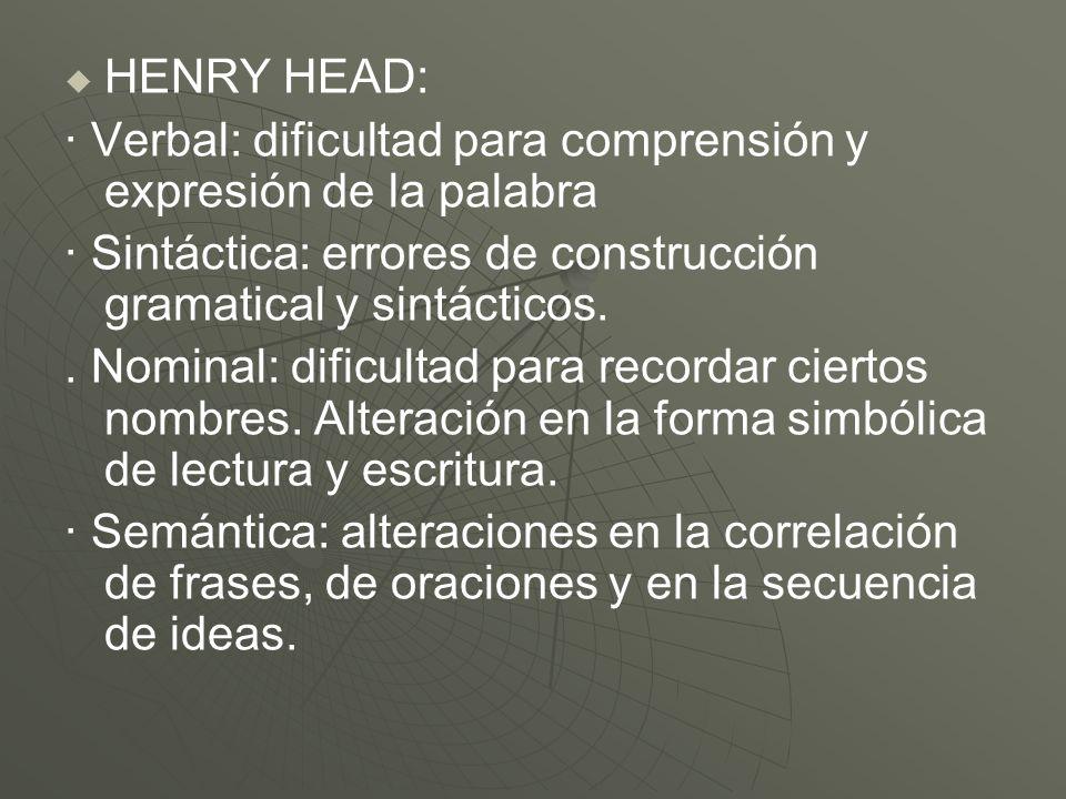 HENRY HEAD:· Verbal: dificultad para comprensión y expresión de la palabra. · Sintáctica: errores de construcción gramatical y sintácticos.