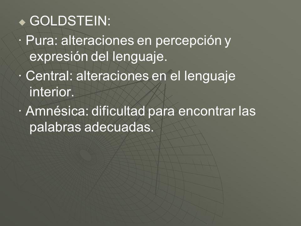 GOLDSTEIN: · Pura: alteraciones en percepción y expresión del lenguaje. · Central: alteraciones en el lenguaje interior.