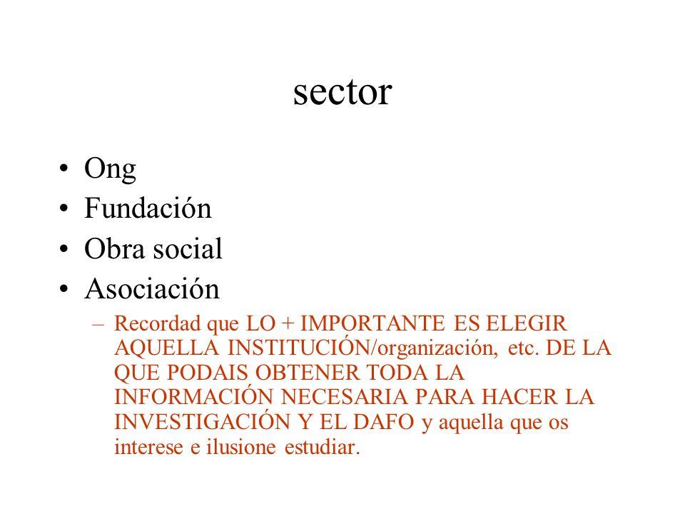 sector Ong Fundación Obra social Asociación