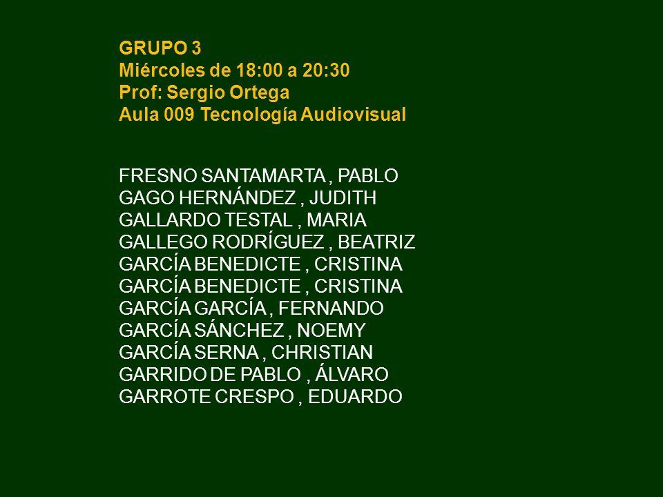 GRUPO 3 Miércoles de 18:00 a 20:30. Prof: Sergio Ortega. Aula 009 Tecnología Audiovisual. FRESNO SANTAMARTA , PABLO.