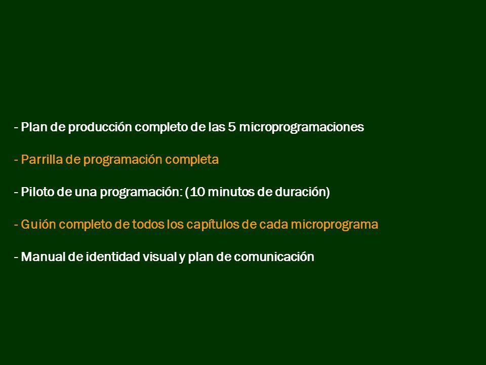 - Plan de producción completo de las 5 microprogramaciones