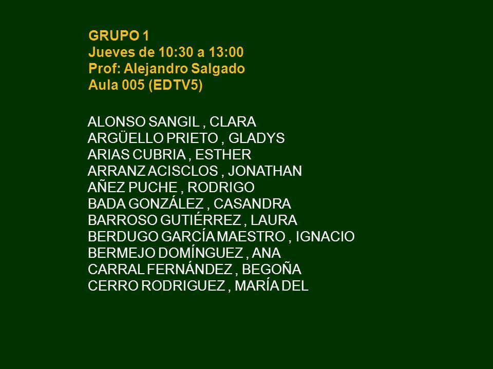 GRUPO 1 Jueves de 10:30 a 13:00. Prof: Alejandro Salgado. Aula 005 (EDTV5) ALONSO SANGIL , CLARA.