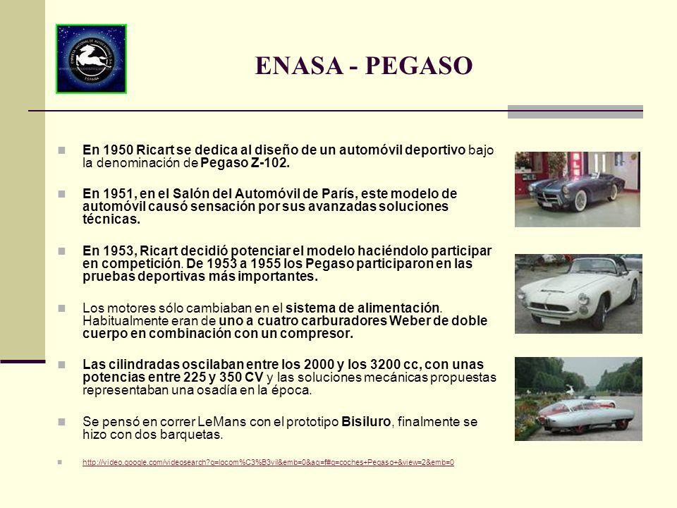 ENASA - PEGASO En 1950 Ricart se dedica al diseño de un automóvil deportivo bajo la denominación de Pegaso Z-102.