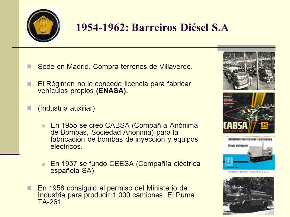 1954-1962: Barreiros Diésel S.A Sede en Madrid. Compra terrenos de Villaverde.