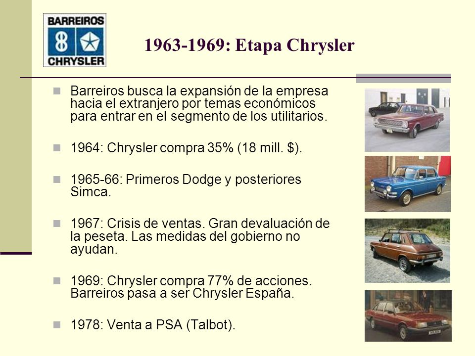 1963-1969: Etapa Chrysler