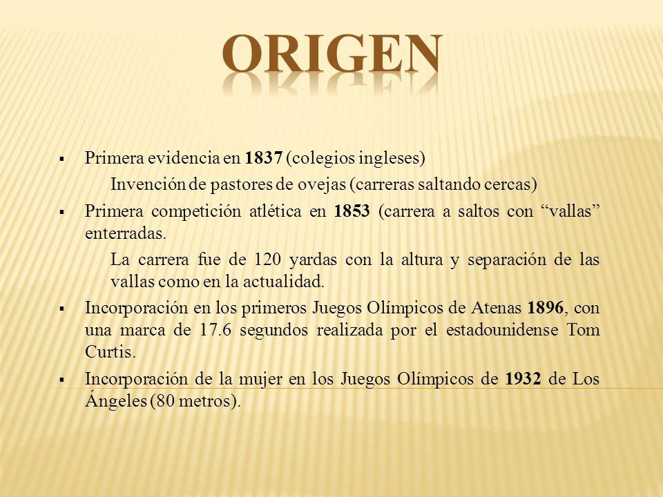 origen Primera evidencia en 1837 (colegios ingleses)