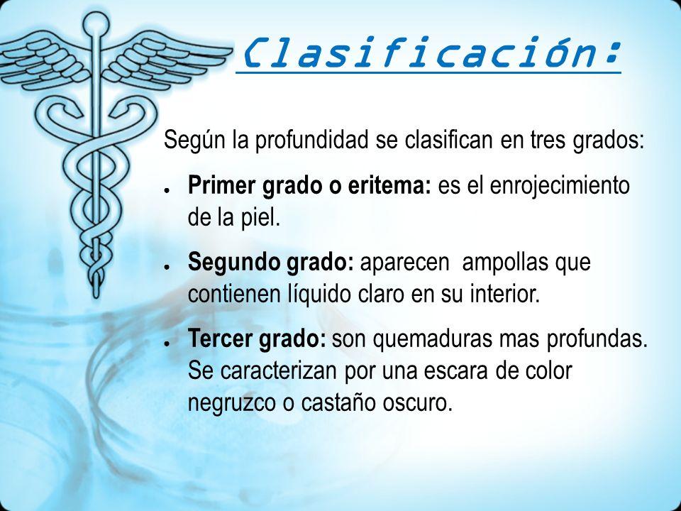 Clasificación: Según la profundidad se clasifican en tres grados: