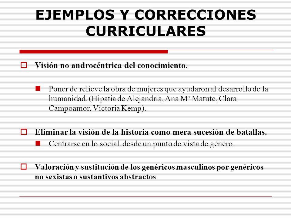 EJEMPLOS Y CORRECCIONES CURRICULARES