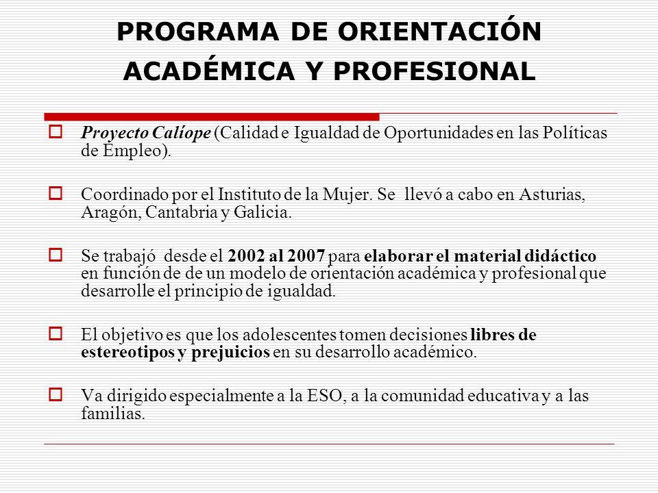 PROGRAMA DE ORIENTACIÓN ACADÉMICA Y PROFESIONAL