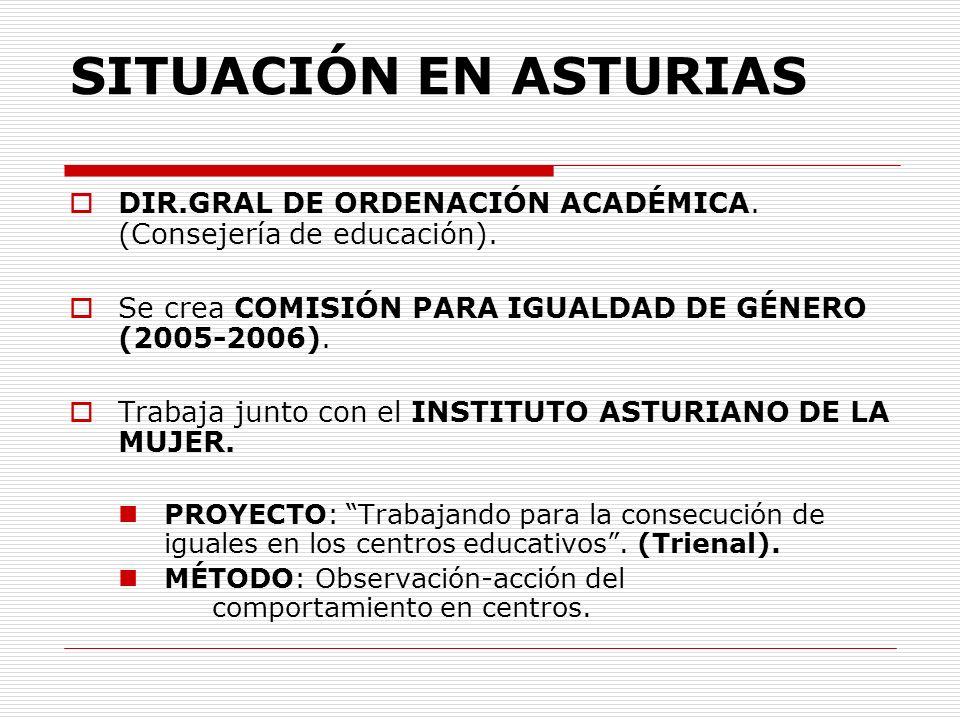 SITUACIÓN EN ASTURIAS DIR.GRAL DE ORDENACIÓN ACADÉMICA. (Consejería de educación). Se crea COMISIÓN PARA IGUALDAD DE GÉNERO (2005-2006).