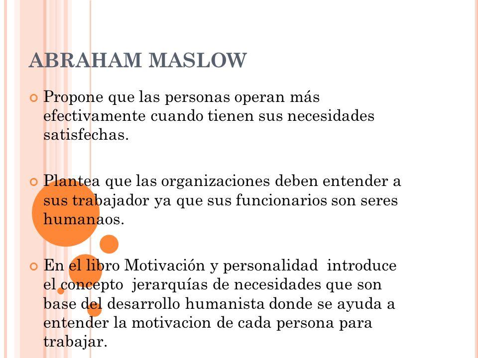 ABRAHAM MASLOW Propone que las personas operan más efectivamente cuando tienen sus necesidades satisfechas.