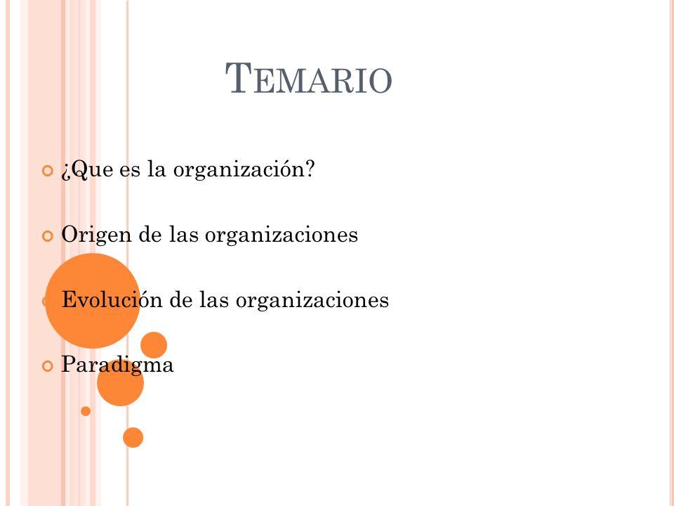 Temario ¿Que es la organización Origen de las organizaciones