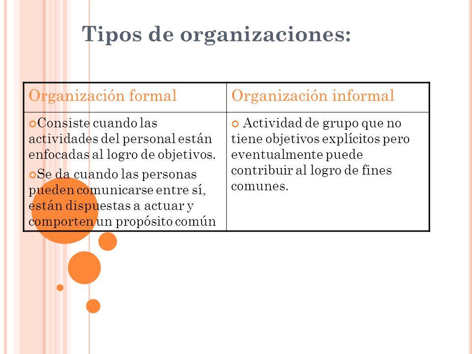 Tipos de organizaciones: