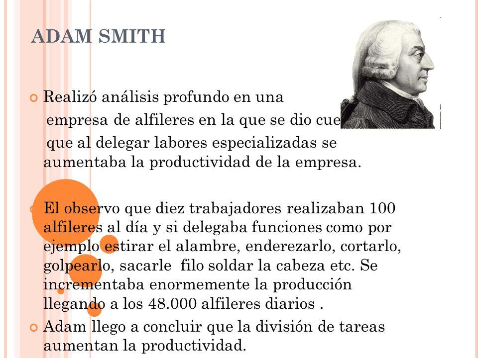 ADAM SMITH Realizó análisis profundo en una