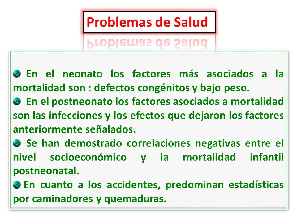 Problemas de SaludEn el neonato los factores más asociados a la mortalidad son : defectos congénitos y bajo peso.