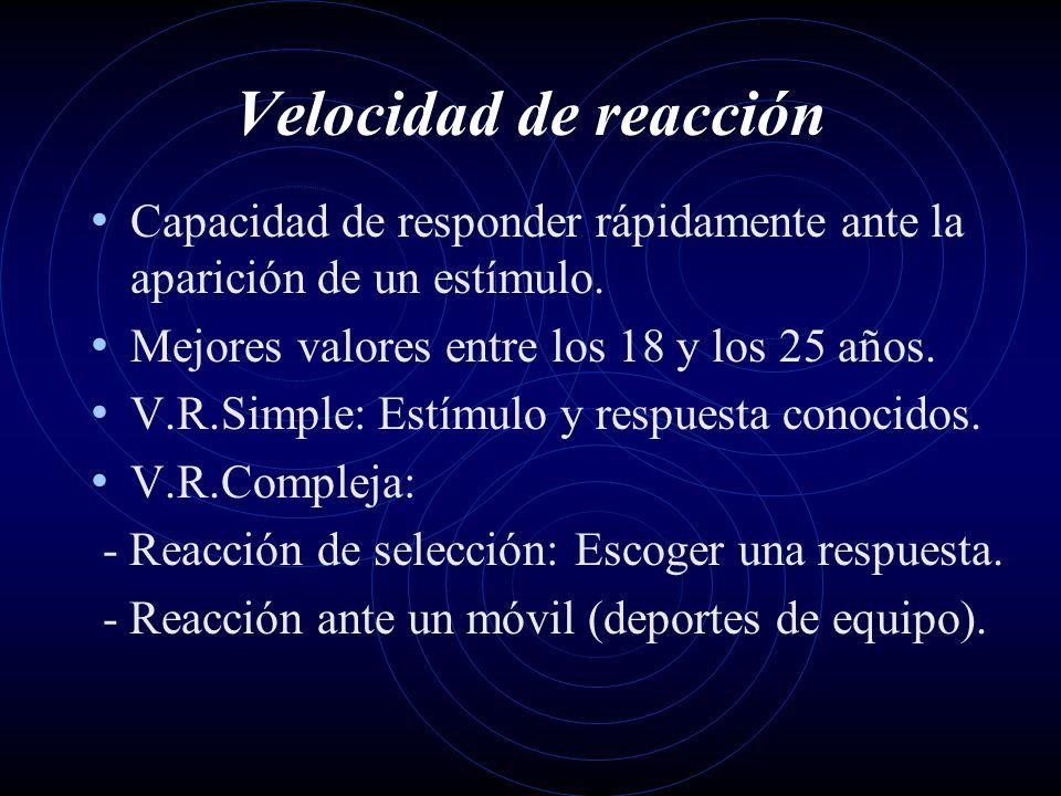 Velocidad de reacciónCapacidad de responder rápidamente ante la aparición de un estímulo. Mejores valores entre los 18 y los 25 años.