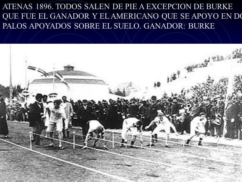 ATENAS 1896. TODOS SALEN DE PIE A EXCEPCION DE BURKE