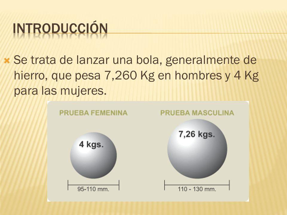 Introducción Se trata de lanzar una bola, generalmente de hierro, que pesa 7,260 Kg en hombres y 4 Kg para las mujeres.