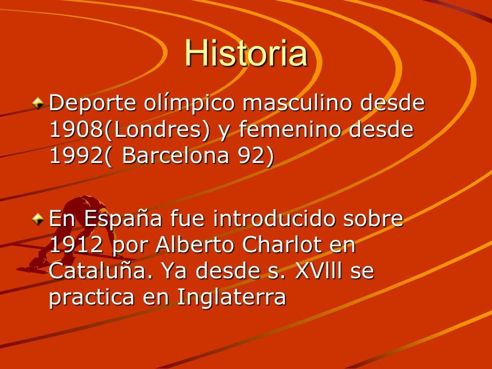 HistoriaDeporte olímpico masculino desde 1908(Londres) y femenino desde 1992( Barcelona 92)
