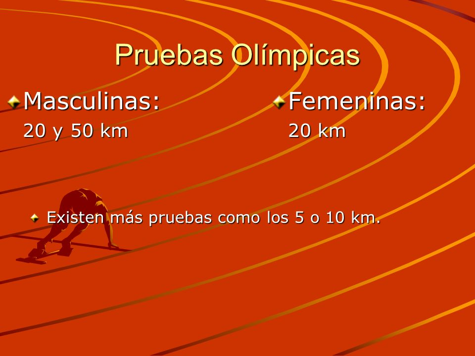 Pruebas Olímpicas Masculinas: Femeninas: 20 y 50 km 20 km