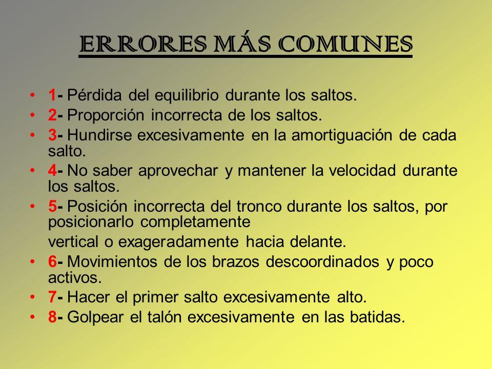ERRORES MÁS COMUNES 1- Pérdida del equilibrio durante los saltos.