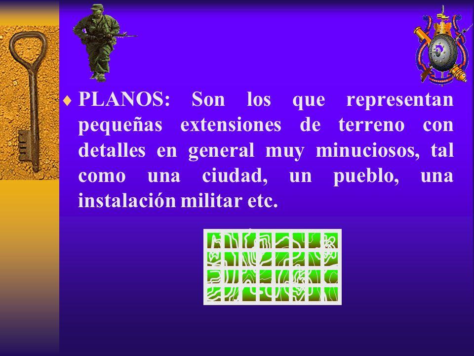 PLANOS: Son los que representan pequeñas extensiones de terreno con detalles en general muy minuciosos, tal como una ciudad, un pueblo, una instalación militar etc.