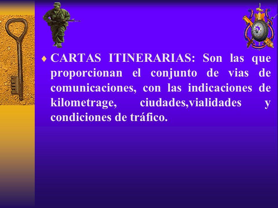 CARTAS ITINERARIAS: Son las que proporcionan el conjunto de vias de comunicaciones, con las indicaciones de kilometrage, ciudades,vialidades y condiciones de tráfico.