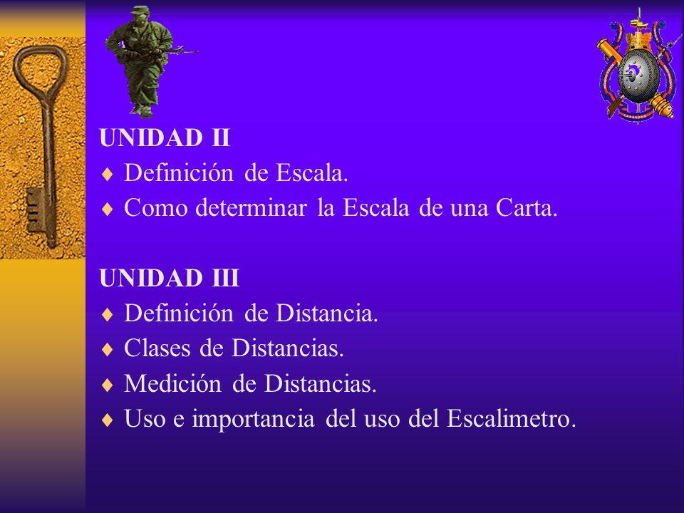 UNIDAD II Definición de Escala. Como determinar la Escala de una Carta. UNIDAD III. Definición de Distancia.