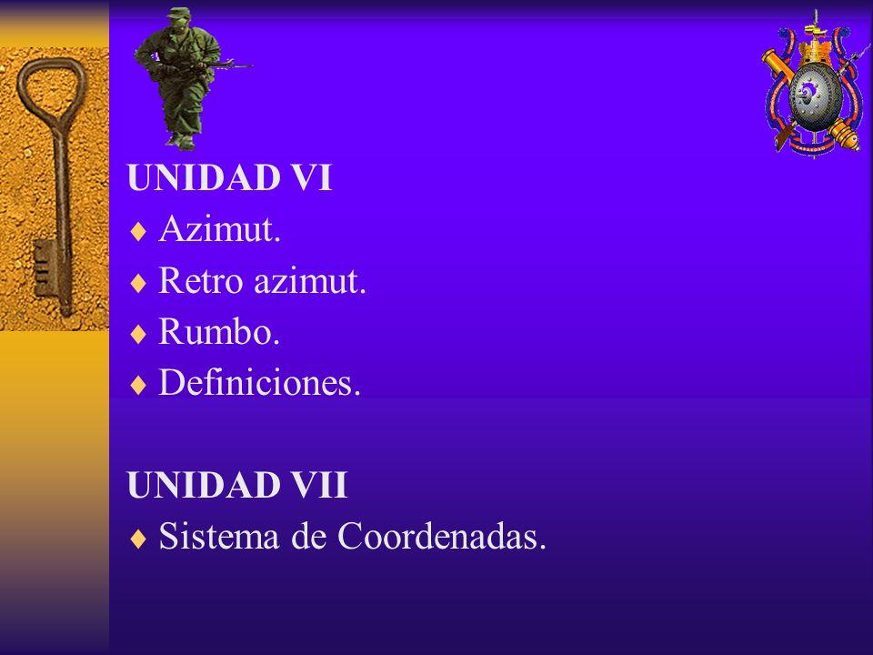 UNIDAD VI Azimut. Retro azimut. Rumbo. Definiciones. UNIDAD VII Sistema de Coordenadas.