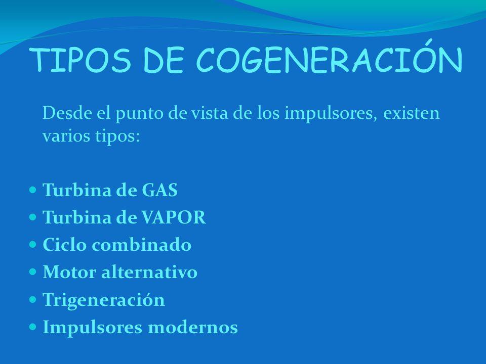 TIPOS DE COGENERACIÓN Desde el punto de vista de los impulsores, existen varios tipos: Turbina de GAS.