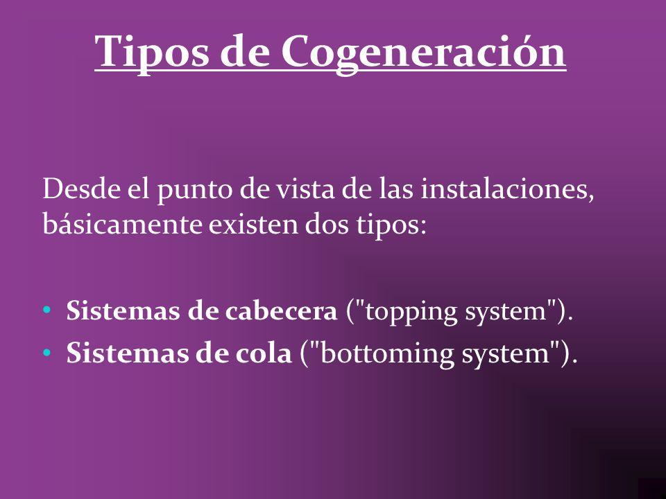 Tipos de CogeneraciónDesde el punto de vista de las instalaciones, básicamente existen dos tipos: Sistemas de cabecera ( topping system ).