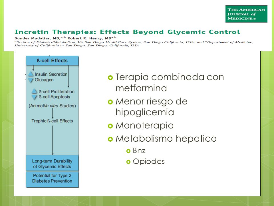 Terapia combinada con metformina Menor riesgo de hipoglicemia