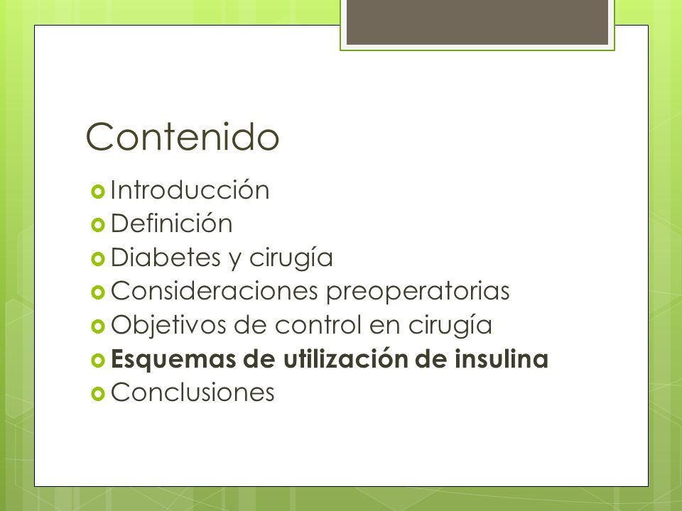 Contenido Introducción Definición Diabetes y cirugía