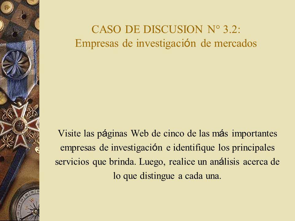 CASO DE DISCUSION N° 3.2: Empresas de investigación de mercados