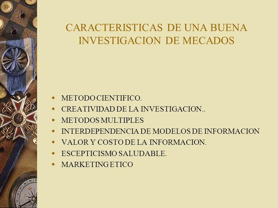 CARACTERISTICAS DE UNA BUENA INVESTIGACION DE MECADOS